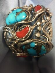 OLD SILVER Tribal Turquoise CORAL CUFF Bracelet Handmade Native American Mexico?