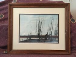 Vintage E.L. Butler Original Watercolor Painting Duck Hunting Texas Artist