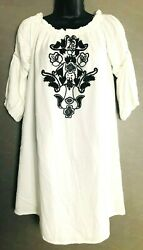 Truth NYC women#x27;s white Boho dress size M 3 4 sleeves black embroidered pattern $19.99
