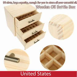 90 Slot Wooden Essential Oil Storage Box Large Capacity Three-Tiered Display Box