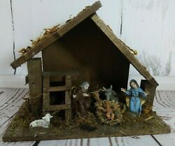 Vintage Italian Italy Christmas Nativity Scene W Wooden Stable Manger Box Incl