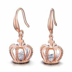 UMODE 18K Rose Gold Tone Cubic Zirconia Jewelry Crown Drop   (rose gold color)