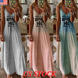 Women Summer Sleeveless V Neck Beach Party Maxi Boho Long Sundress Dress Size