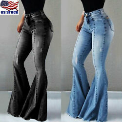 Womens Ladies Flare Jeans High Waist Pants Bell Bottom Stretch Denim Trousers US