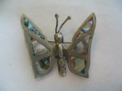 VINTAGE STERLING SILVER ABALONE BUTTERFLY PIN ~ EAGLE MARK~ MEXICO