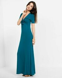 EXPRESS TURQUOISE TIE FRONT MAXI DRESS XS  $29.99