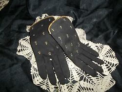 Vintage Black W Tiny Rhinestones After 5 Gloves NOS...Sz. 6..Very Glamorous $25.00