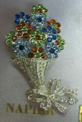 VINTAGE NAPIER COLORED CRYSTAL RHINESTONE FLOWER BOUQUET BROOCH in BOX Rare find