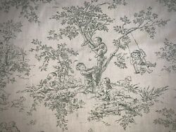P Kaufmann Central Park Kids Toile Fabric Green Sage on White BTY RARE OOP HTF