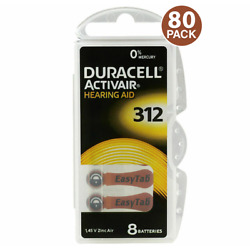 Duracell Size 312 Hearing Aid Battery 10 x 8 Packs Closeout Sale (80 Batteries)