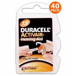 Duracell Size 13 Hearing Aid Battery 10 x 4 Packs Closeout Sale (40 Batteries)