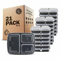Meal Prep Containers (21-Pack) 3 Compartments (24-Oz) Food Storage Bento Box