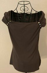 WHBM White House Black Market Brown Ruched Cap Sleeve Shirt Size Small $49