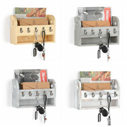 Mail Holder With 5 Key Hooks Wall-Mounted Wooden Rack Envelope Organizer Home