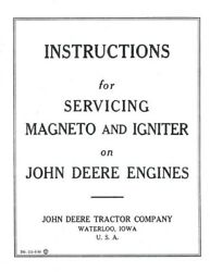 John Deere E hit & miss engine Magneto Book Manual