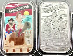 She Blows Again Sexy Pirate Girl Enameled & Proof Set 1 oz .999 Silver Art Bars