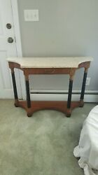 Antique Hekman marble hall table
