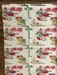 Vintage Fabric 2 Panels Red Green Yellow White Gray Kitchen Roosters 35.5quot; x 30quot; $29.99