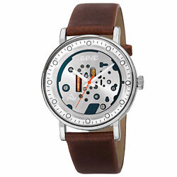 New Men's August Steiner AS8183SSBR Imitation Skeleton Dial Brown Leather Watch