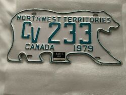 Northwest Territories 1979 1980 POLAR BEAR License Plate. NWT Foreign Tag.