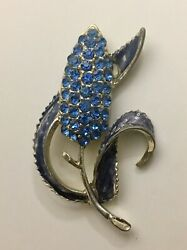Vintage Sapphire Colored Crystal And Enamel Flower Brooch Pin Unsigned GORGEOUS