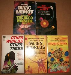 Alien Worlds Other Times Futures to Infinity Elwood 3 lot SF Science Fiction VG