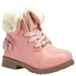 Bebe Toddler Girls Pink Faux Fur Cuff Boots Sz 6 or Sz 7 $10.99