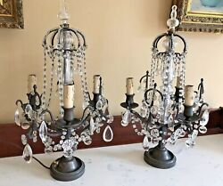 Antique Pair French Crown Crystal Girandoles Candelabras Lamp Beaded Chandelier $2500.00