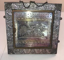 "Antique 1870s Rogers Silverplate Frame W Plaque Stand Desk 10.5"" Ornate Rare"