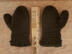 Antique 19th C BROWN WOOL Child Baby Doll MITTENS KNITTED Peg Rack PRIM #2