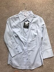 George Womens Button Up 34 Sleeve Blouse Shirt Top Blue Size S Small (4-6) NWT