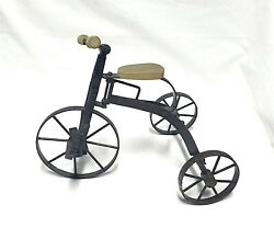 Vintage Metal Tricycle Art Sculpture with Wooden Handles and Seat