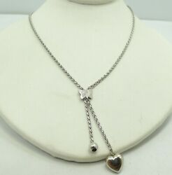 14K White Gold Wheat Link Chain With Butterfly amp; Heart Dangle 17quot; 5.4g M670 $283.99