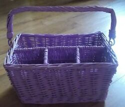 Purple Wicker Serving Caddy with Handle for Party Utensil Flatware Napkin Plates