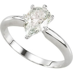 Pear Diamond Solitaire Engagement Ring 14K White Gold (0.73 Ct G  VVS1 ) GIA