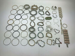 Lot of Over 50 Costume Jewelry Bracelets ~2 Lbs 3oz Gold Silver Tones Stones
