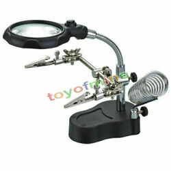 Jumbo Helping Hands Magnifying Glass With LED Light Vise Clamps Hobby Tool
