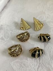 Gorgeous Vintage Clip On Earring Lot Of 3 Gold Tone Rhinestones Black Enamel