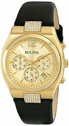 Bulova Women's Quartz Crystal Accents Gold Tone Multi Dial 34mm Watch 97M107