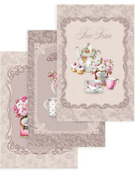 Kitchen Towels Set of 3 Made Russia Cotton Dish Tea Towels Pastel Provence $10.95