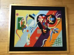 Vintage Mid Century Modern Geometric Abstract Framed Needlepoint Art Embroidery