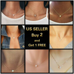 Simple Minimalist Choker Dainty Silver Gold Crystal Chain Pendant Necklace