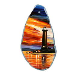 Color Printing oil painting Agate Gemstone Pendant Necklace Y1901 0943
