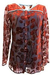 Womens SUNDANCE Ember Floral Burnout Sheer Lined Button Front Long Sleeve Top $19.99