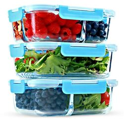 1 & 2 & 3 Compartment Glass Meal Prep Containers [3 Pack 35 Oz]