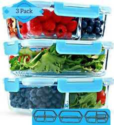1 & 2 & 3 Compartment Glass Meal Prep Containers [3 Pack 35 Oz] - Food Storage