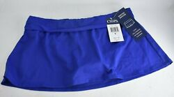CHAPS Blue Hipster Shirred Band Skirted Bathing Suit Bottom Size 8 $20.00
