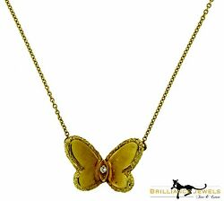 Estate Van Cleef & Arpels Gold Butterfly Pendant Necklace with Diamond Pouch