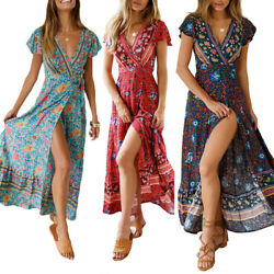 Women Wrap Summer Boho Floral Paisley Maxi Print Dress Ladies Holiday Beach US $16.71