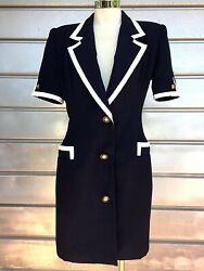 SHARP VINTAGE 80s 90s CEO Meets Flight Stewardess Career Wear Suit Dress Sz 4
